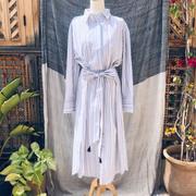 Baumwoll-Blusenkleid mit weiss-rot-blauen Streifen