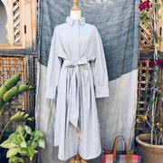 Baumwoll-Blusenkleid mit weiss-gelb-blauen Streifen