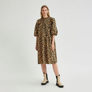 Statement-Baumwollkleid mit Leoprint