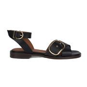 Leder-Sandale mit Schnallen in Schwarz