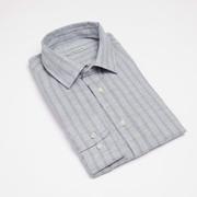 'Carpasus'-Leinen-Baumwollhemd mit Streifen in Grau/Blau