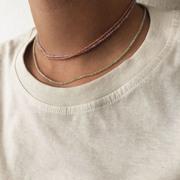 Kürzere Halskette mit Prehnit-Perlen