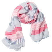 Handgefertigt: Baumwollschal mit Streifen in Pink/Blau