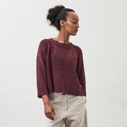 Strukturierter Baumwoll-Strickpullli in Grape oder Offwhite