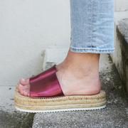 Slide-Espadrille in Metallic Rot