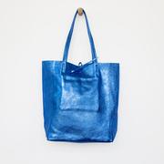 Lederner Tote-Bag in Metallic Blau