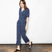 Lieblings-Jumpsuit mit Mikroprint in Navy / Red