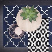 Ornamentaler Teppich in Blau-Natur