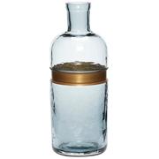 Flasche-Vase in Blau mit Messingring