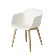 Fiber chair woodbase natural white oak white low