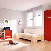 Einzelbett: 'Stapelliege' in Holz