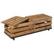 Holzkisten auf Rollen