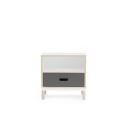 Nachttischchen 'Kabino' in Grau und Weiss