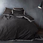 Leinen-Bettwäsche schwarz/grau
