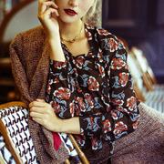 Frauenbekleidung oberteile chiffon blumen violet winterroses 5