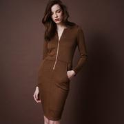 Frauenbekleidung kleider viskose braun loreen pepita 1