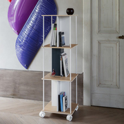 Hires domino q modular shelving unit l version in white colour with white wheels
