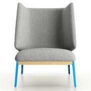 Hoher Sessel 'Hug' in Stoff oder Leder