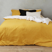 Zweifarbige Leinen-Bettwäsche