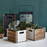Cane line aufbewahrungskasten box teakholz mit aluminium 2