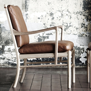 Colonial chair carl hansen white oiled oak leather