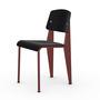 Vitra Jean Prouvé Stuhl Standard  Gleiter für Teppichboden,  Japanese Red – Rot,  Nussbaum Schwarz pigmentiert