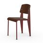 Vitra Jean Prouvé Stuhl Standard  Gleiter für Teppichboden,  Japanese Red – Rot,  Eiche Dunkel