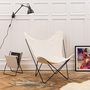 Manufakturplus 'Butterfly Chair' Sessel Stoff offwhite