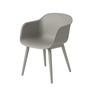Fiber chair woodbase grey white low
